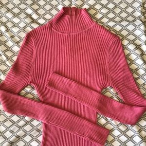 Pink Sweater, Ribbed, Zipper back